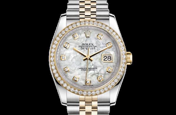 godt rolex Datejust østers 36mm stål gult guld og diamanter 116243