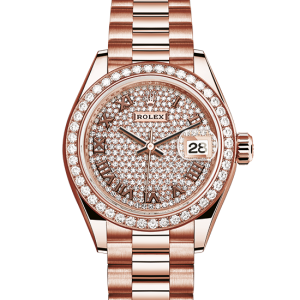 Perfekt rolex Datejust østers 28mm rosa guld og diamanter 279135RBR