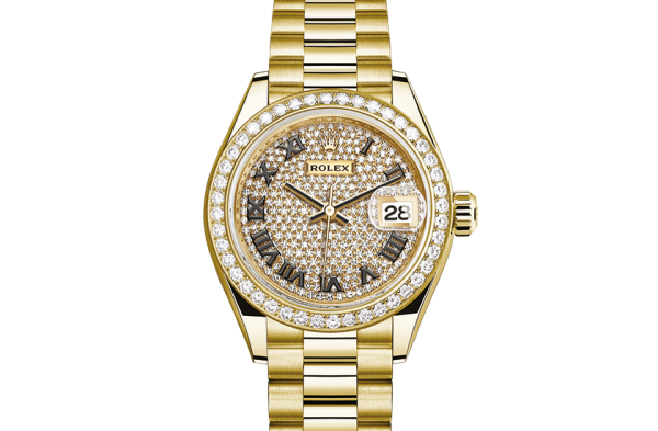 godt rolex Datejust østers 28mm gult guld og diamanter 279138RBR
