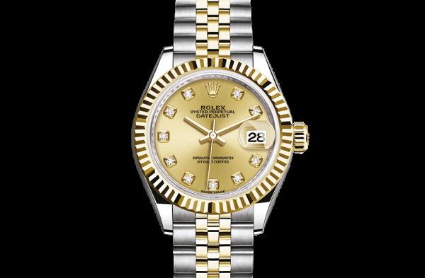 salg rolex Datejust østers 28mm stål og gul guld 279173