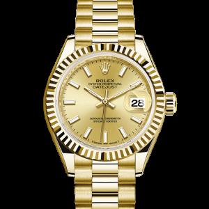 pæn rolex Datejust østers 28mm gul guld 279178