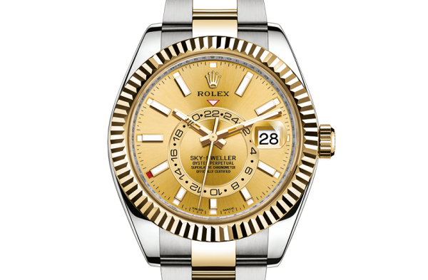 salg rolex Sky-Dweller østers 42mm stål og gul guld 326933