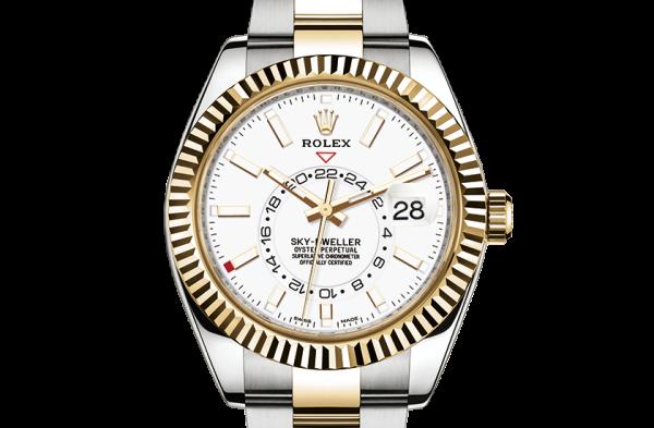 top rolex Sky-Dweller østers 42mm stål og gul guld 326933
