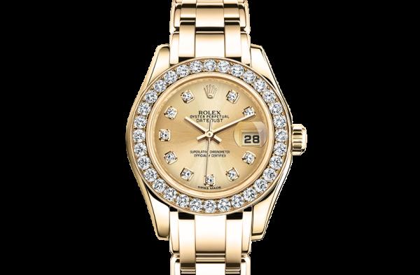 godt rolex Pearlmaster østers 29mm gult guld og diamanter 80298