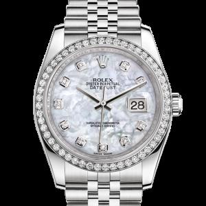 bedst rolex Datejust østers 36mm stål hvidguld og diamanter 116244