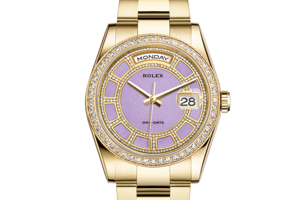 pæn rolex Day-Date østers 36mm gult guld og diamanter 118348
