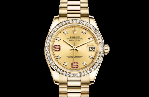 replika rolex Datejust østers 31mm gult guld og diamanter 178288