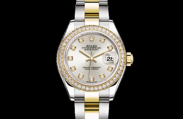 godt rolex Datejust østers 28mm stål gult guld og diamanter 279383RBR